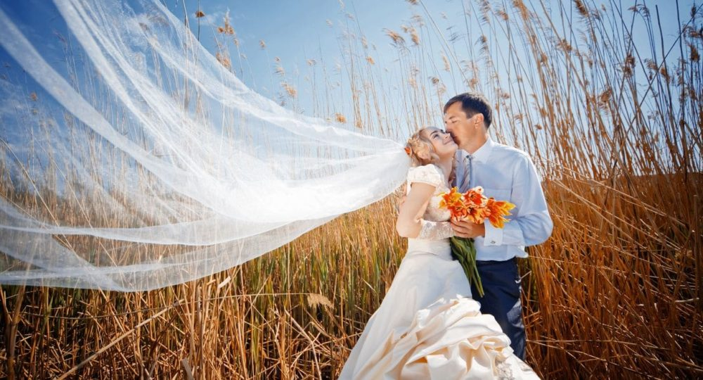 Hochzeitspaar im Feld