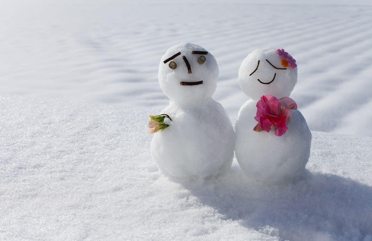 Schneemann und Schneefrau