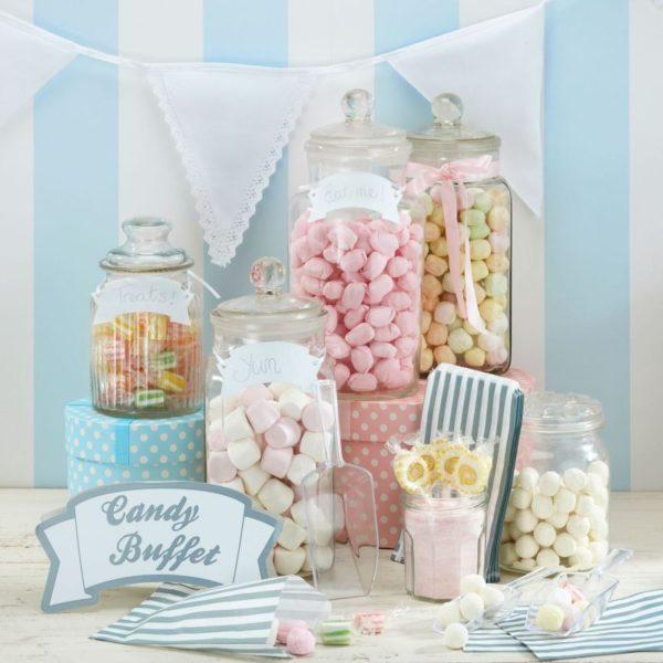 candy bar set weiss silber
