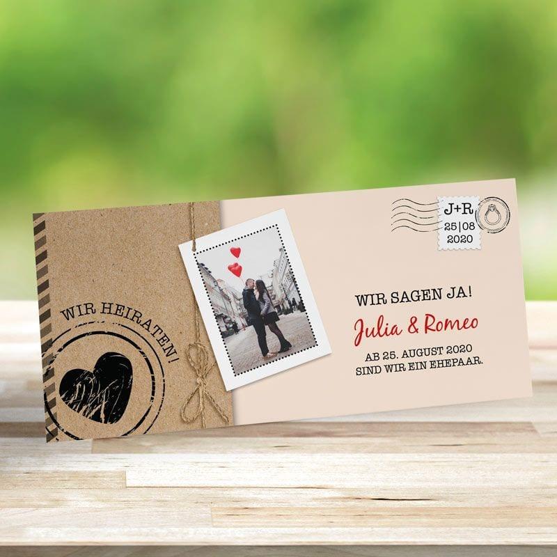 Einladungskarte Hochzeit Liebespost creme