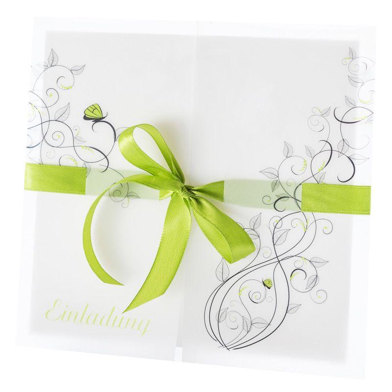 Einladungskarte Hochzeit Liebesranken grün