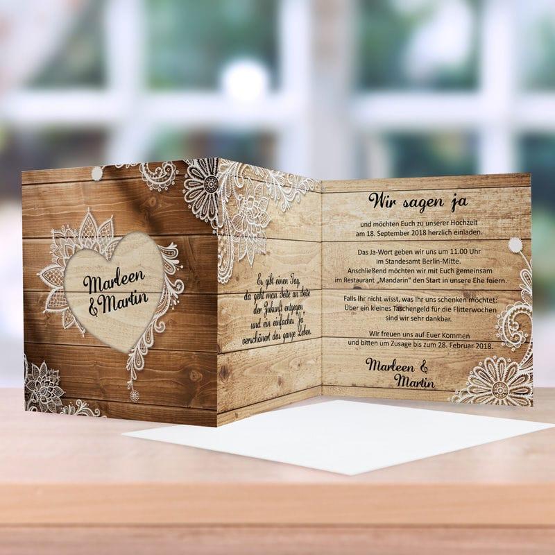 Einladungskarte Hochzeit Wood Style