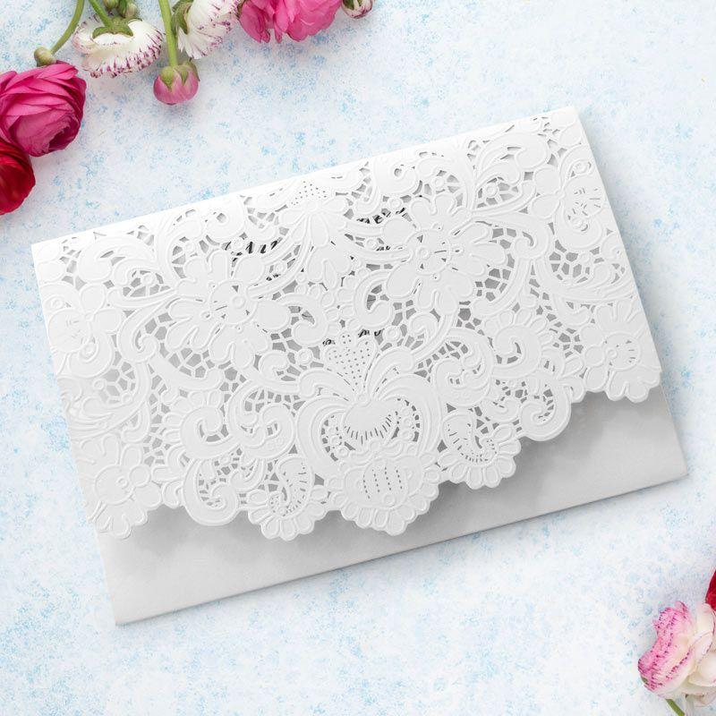 Hochzeitseinladung Pocketfold Spitze weiß