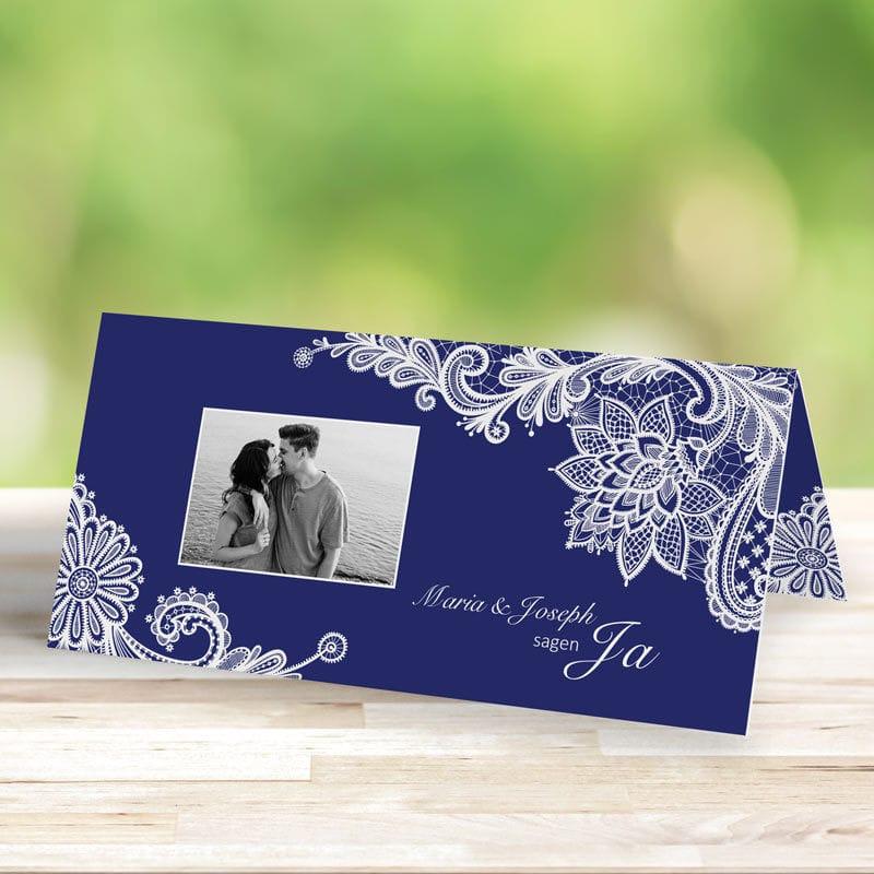 Hochzeitseinladung Romantische Spitze dunkelblau