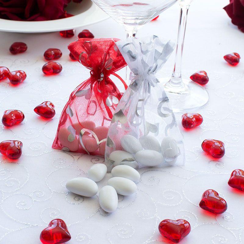 Hochzeitsmandeln mit Organzasaeckchen weiss mit Herzen
