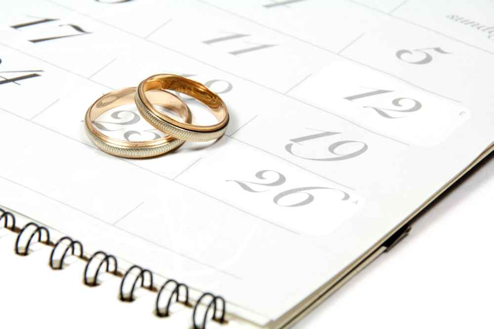 Eheringe auf Kalender
