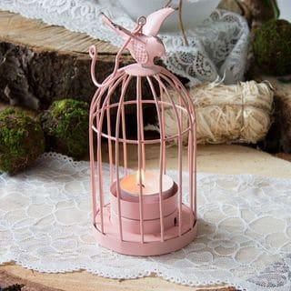 teelichthalter vintage kaefig rosa
